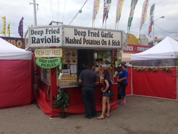 Not even noon, a line for fried mashed potatoes.