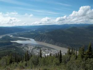 Looking down on Dawson City and the Yukon